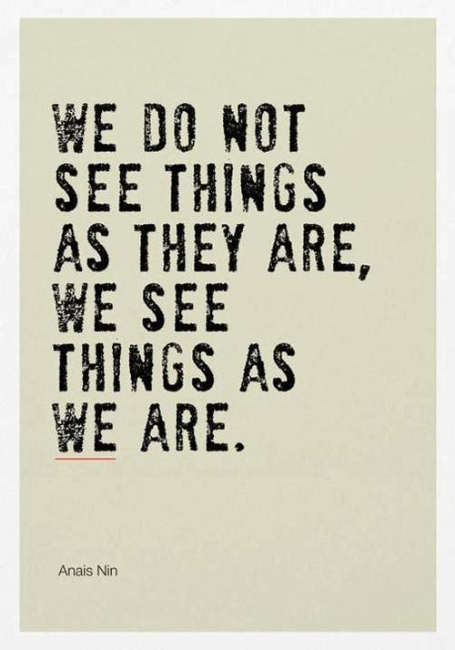 we do not see things as they are Anais Nin